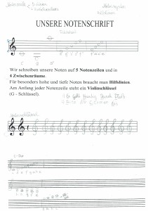 "Arbeitsblatt ""Unsere Notenschrift"""